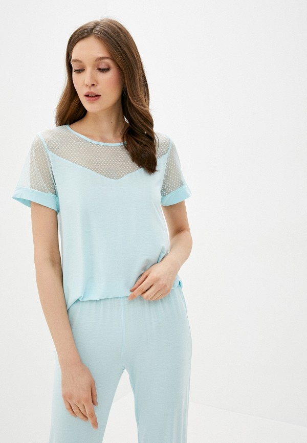женская футболка дефиле, бирюзовая