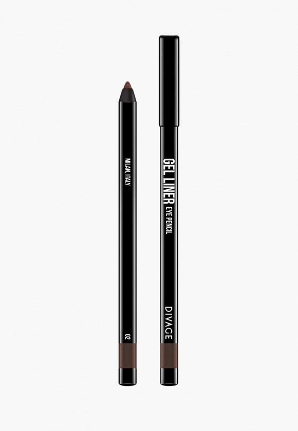 карандаш для глаз divage, коричневый