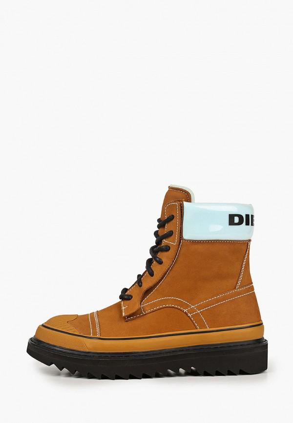 мужские высокие ботинки diesel, коричневые
