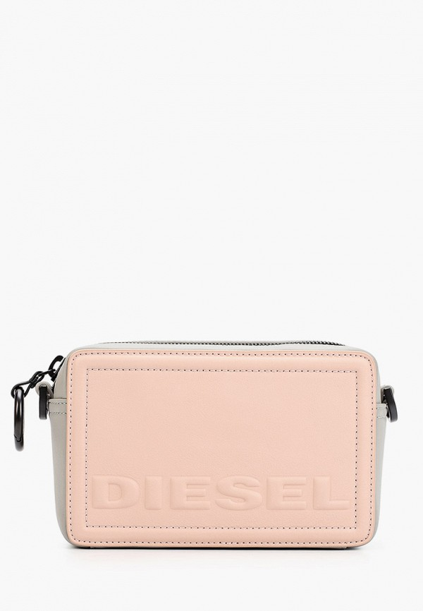 женская сумка через плечо diesel, розовая