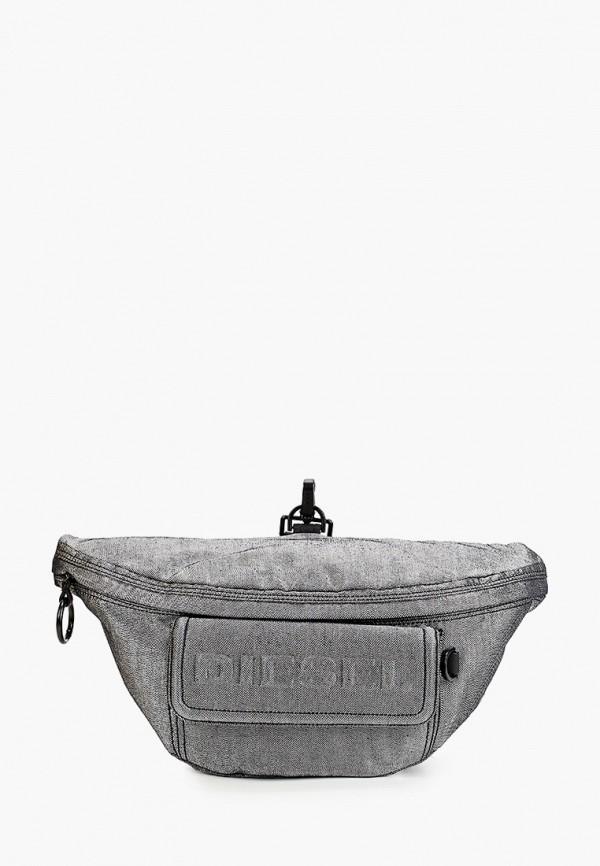 женская поясные сумка diesel, серебряная