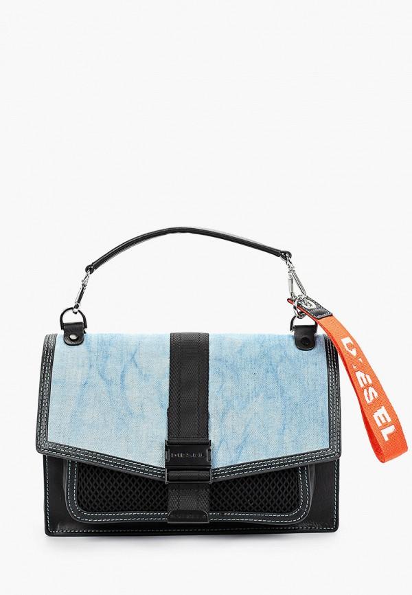 женская сумка через плечо diesel, голубая
