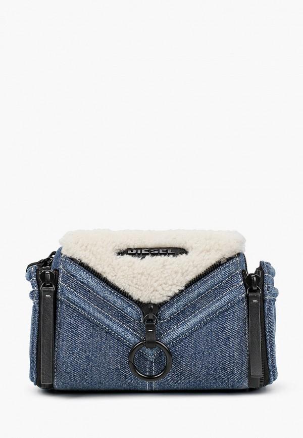 женская сумка через плечо diesel, синяя
