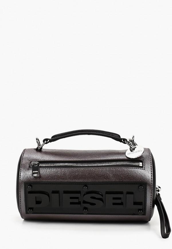 женская сумка через плечо diesel, серебряная