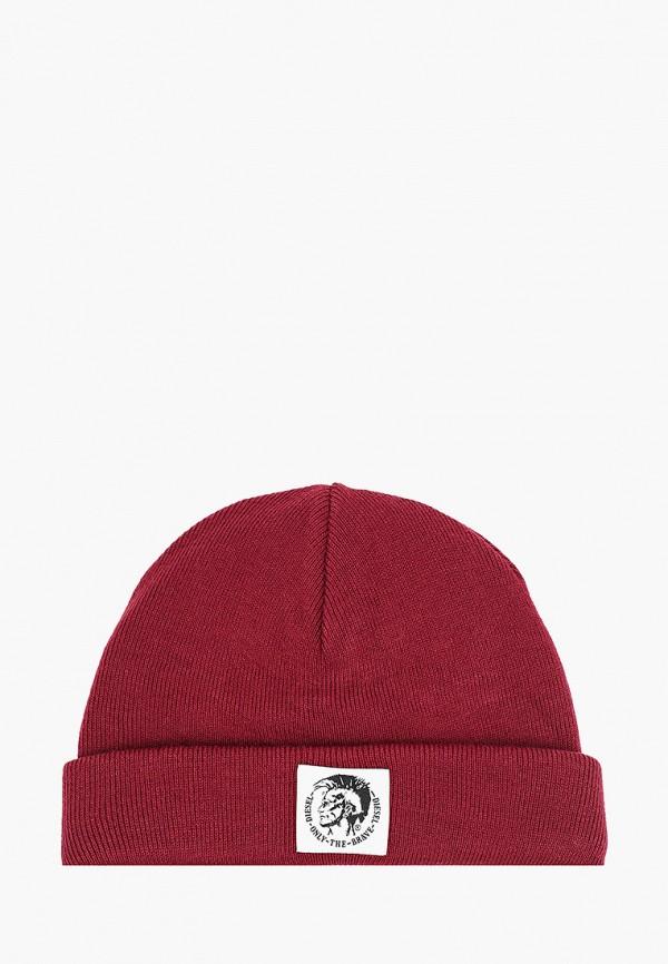 мужская шапка diesel, бордовая