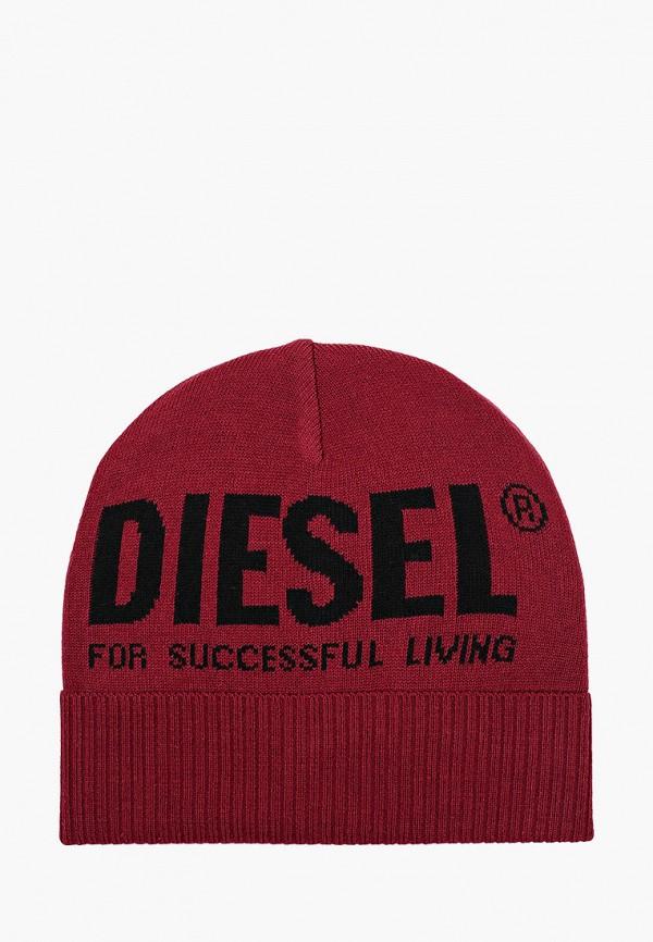 женская шапка diesel, бордовая