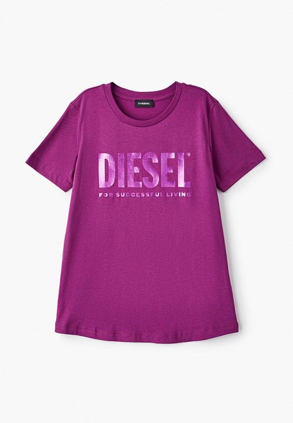 футболка с коротким рукавом diesel для девочки, розовая