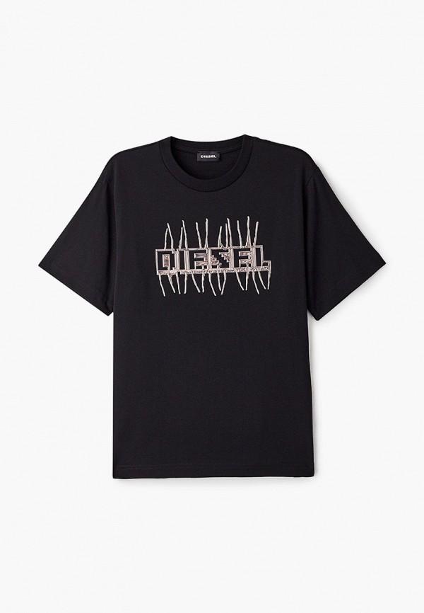 футболка с коротким рукавом diesel для девочки, черная