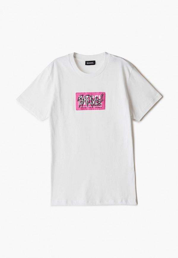 футболка с коротким рукавом diesel для девочки, белая