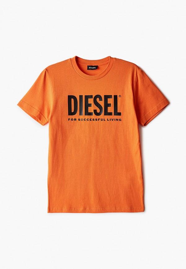 футболка с коротким рукавом diesel малыши, оранжевая