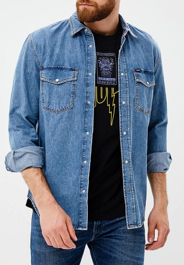 Фото 4 - мужскую рубашку Diesel голубого цвета