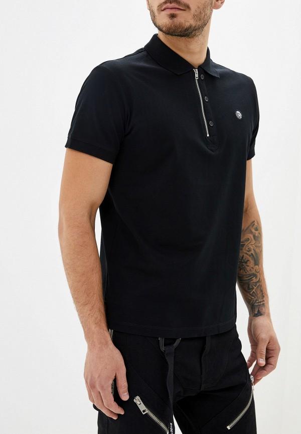 мужское поло с коротким рукавом diesel, черное