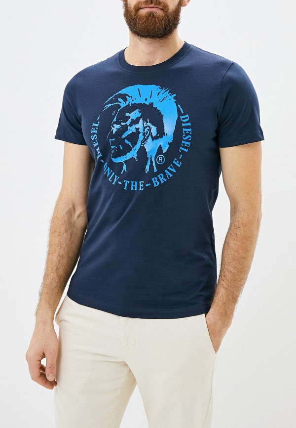 мужская футболка с коротким рукавом diesel, синяя