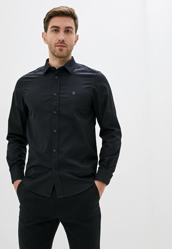 мужская рубашка с длинным рукавом diesel, черная
