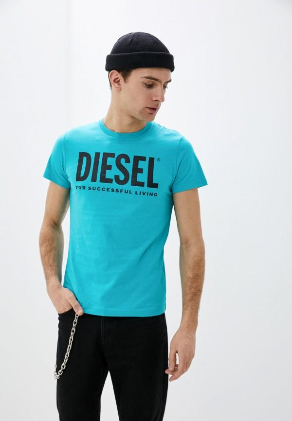 мужская футболка с коротким рукавом diesel, бирюзовая