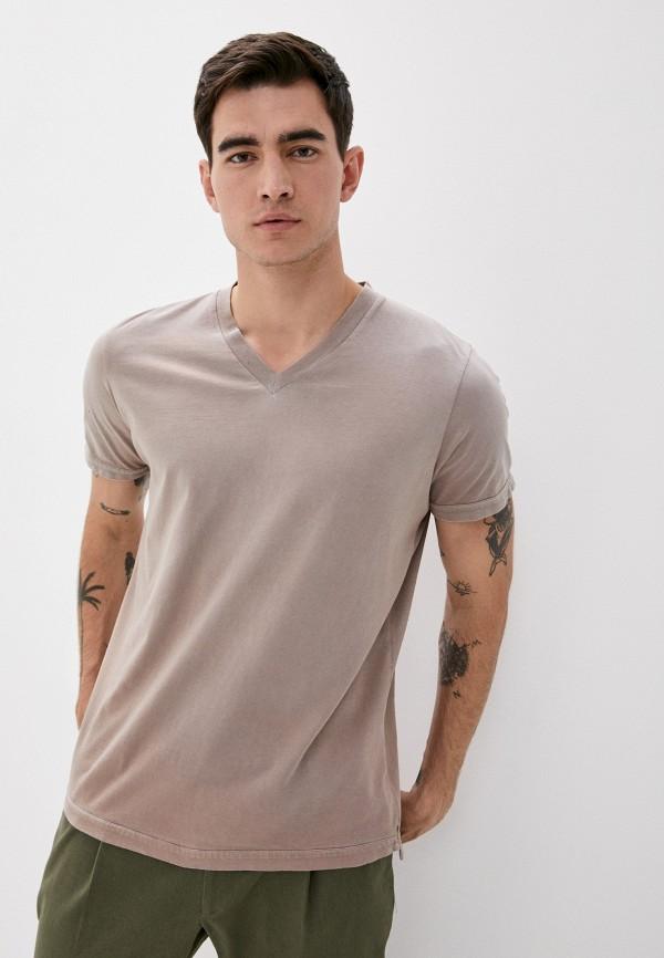 мужская футболка с коротким рукавом diesel, бежевая