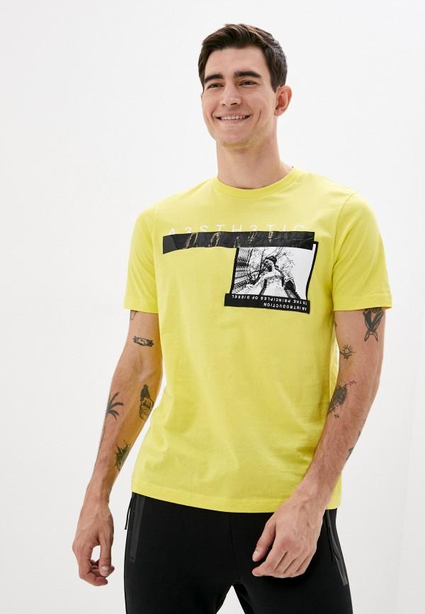 мужская футболка с коротким рукавом diesel, желтая
