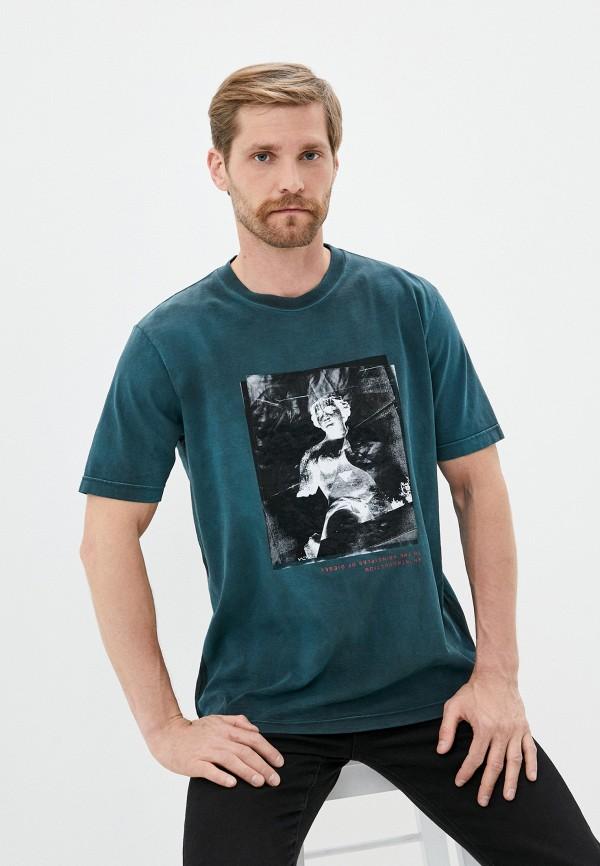 мужская футболка с коротким рукавом diesel, зеленая
