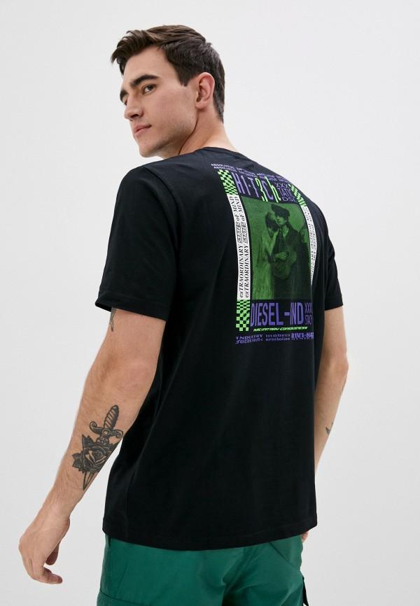 мужская футболка с коротким рукавом diesel, черная