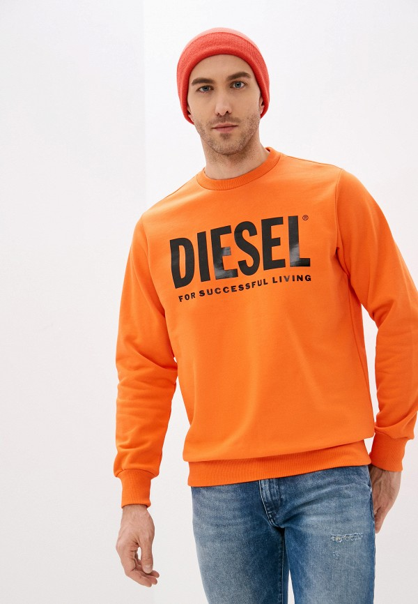 мужской свитшот diesel, оранжевый