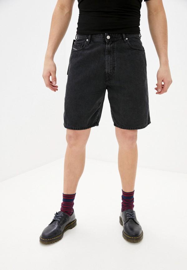 мужские джинсовые шорты diesel, черные