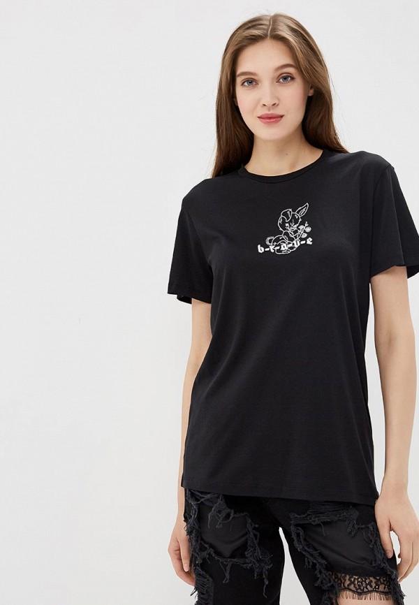 женская футболка diesel, черная