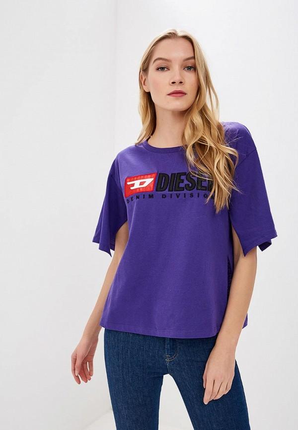 женская футболка diesel, синяя