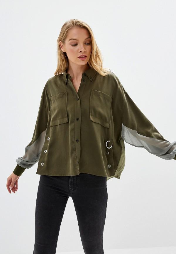 женская рубашка с длинным рукавом diesel, хаки