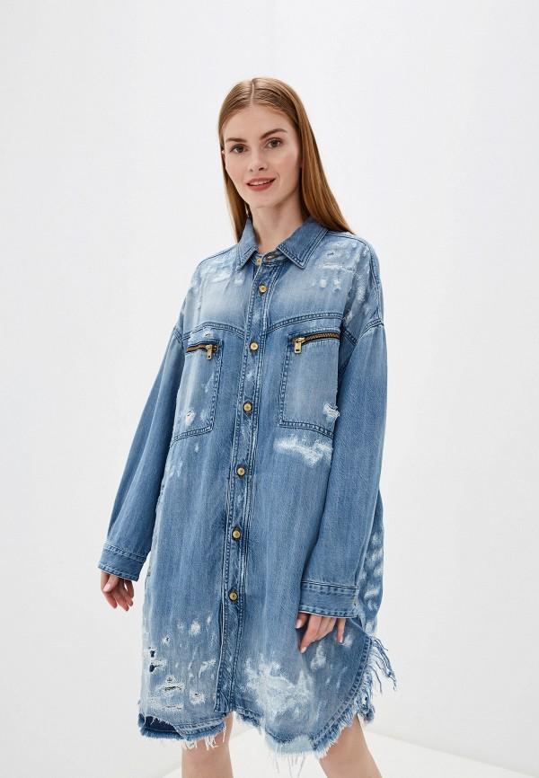 женское джинсовые платье diesel, синее