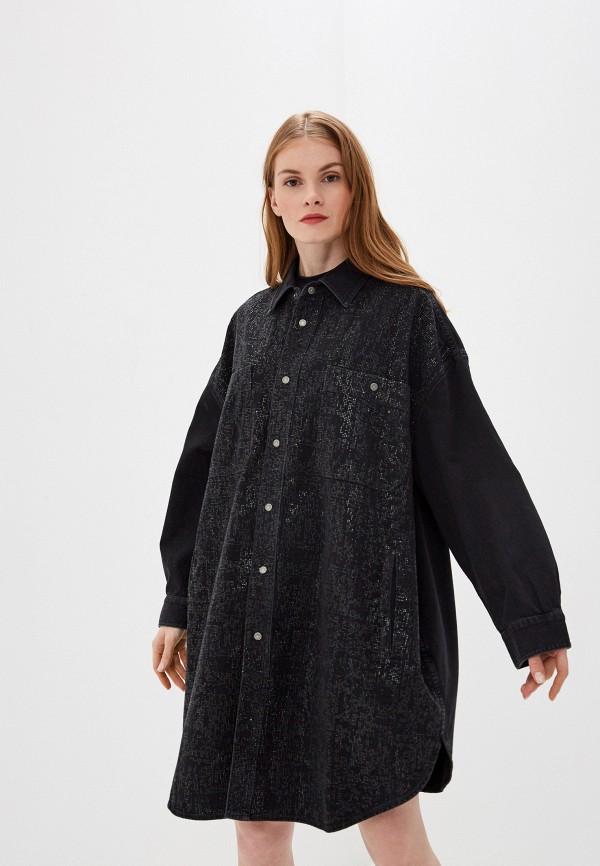 женское платье мини diesel, черное