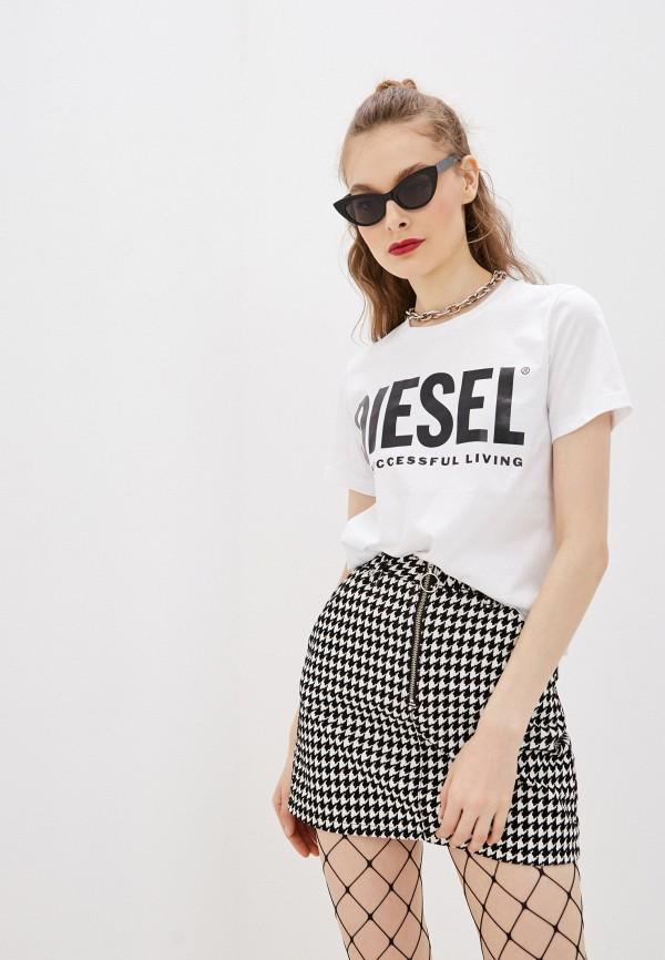 женская футболка diesel, белая