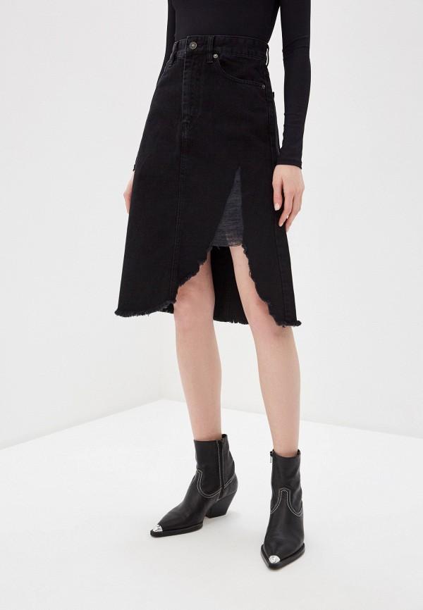 женская юбка мини diesel, черная