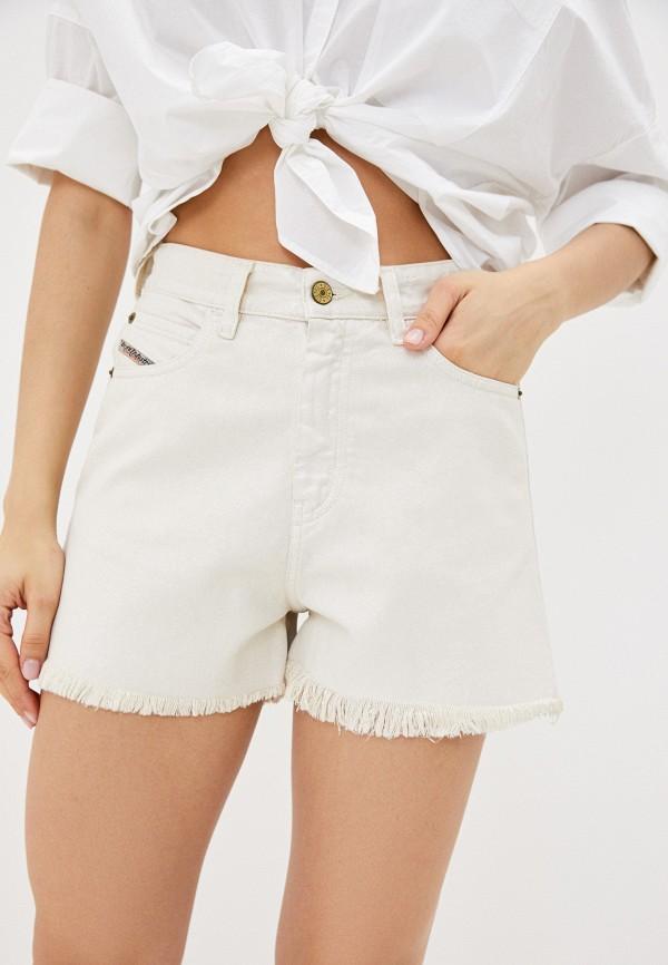 женские джинсовые шорты diesel, белые