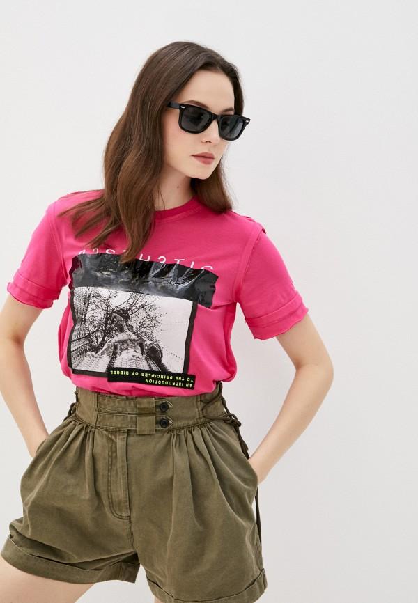 женская футболка diesel, розовая