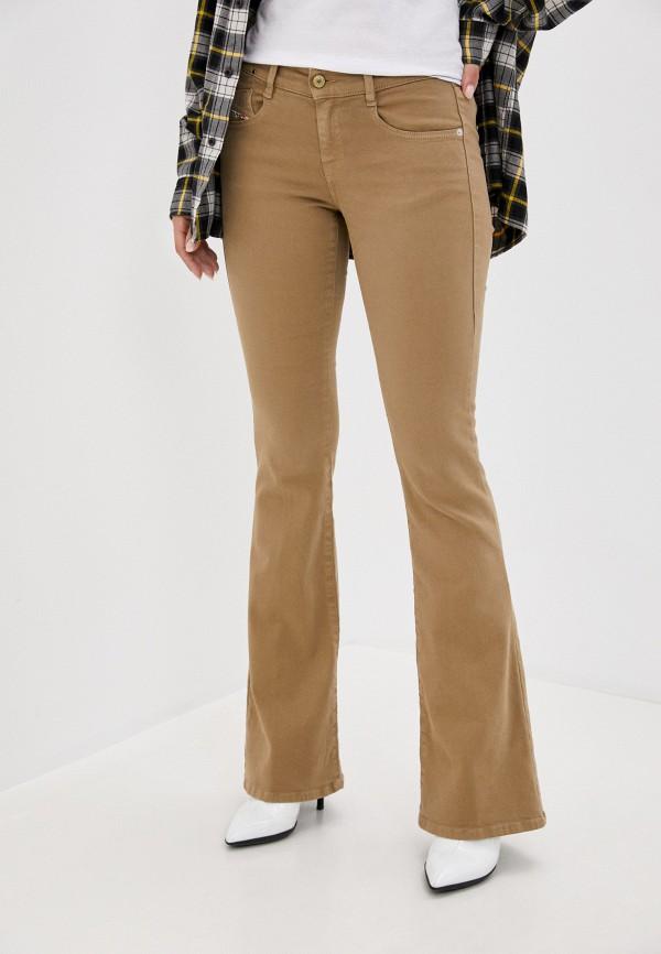 женские джинсы клеш diesel, коричневые