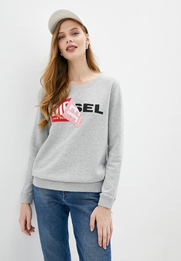 женский свитшот diesel, серый