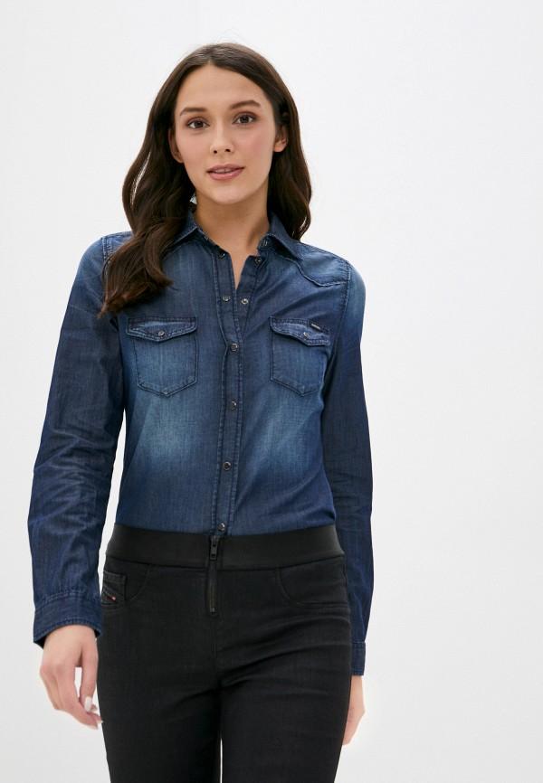 женская рубашка с длинным рукавом diesel, синяя