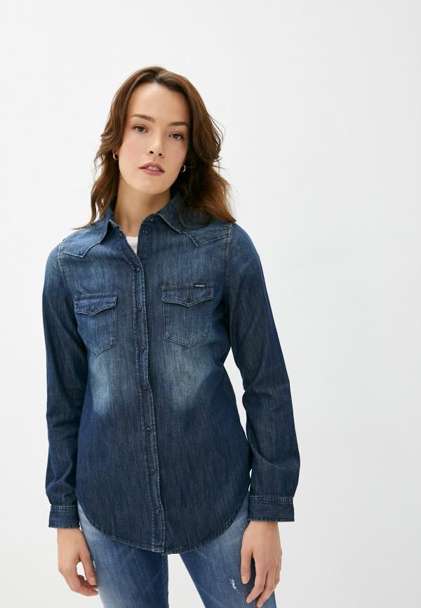 женская джинсовые рубашка diesel, синяя