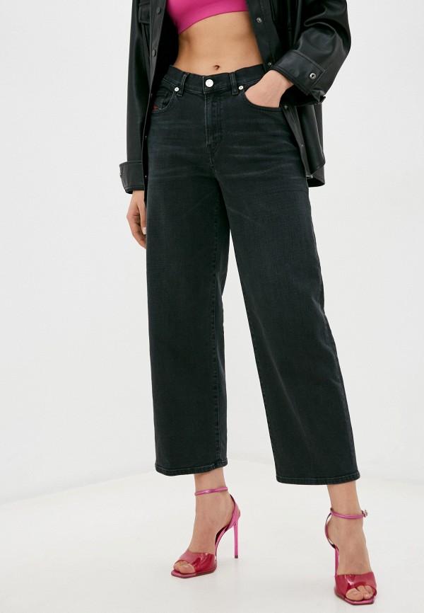 женские джинсы клеш diesel, черные