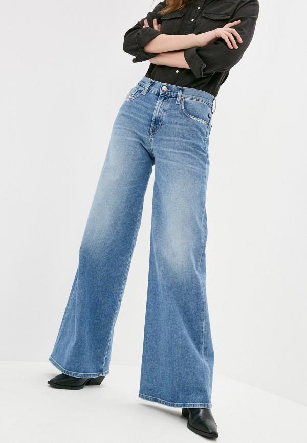 женские джинсы клеш diesel, голубые