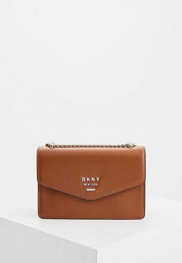женская сумка dkny, коричневая