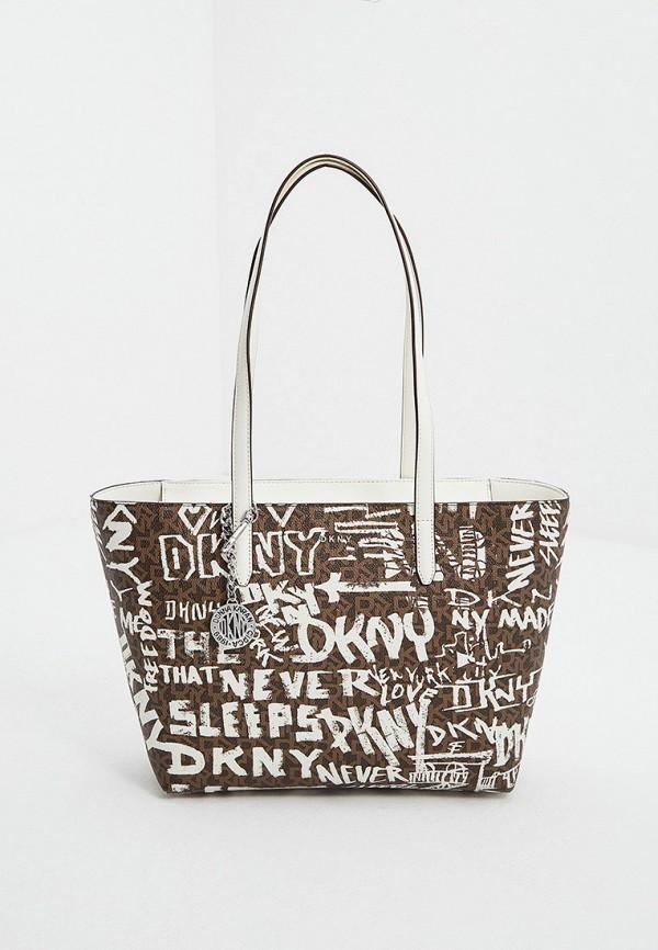 женская сумка-шоперы dkny, коричневая