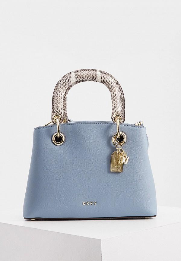 женская сумка с ручками dkny, голубая