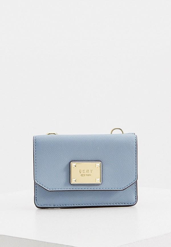 женская сумка через плечо dkny, голубая