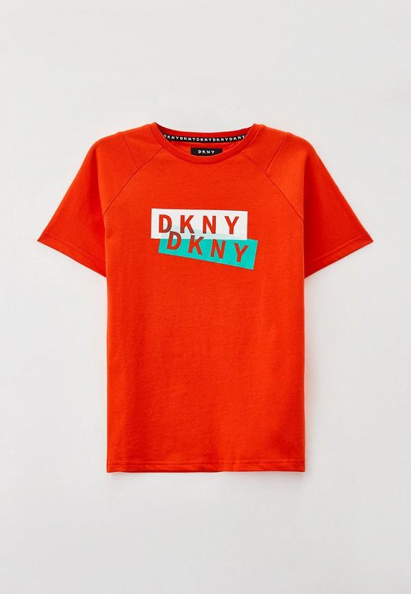 футболка с коротким рукавом dkny для мальчика, оранжевая