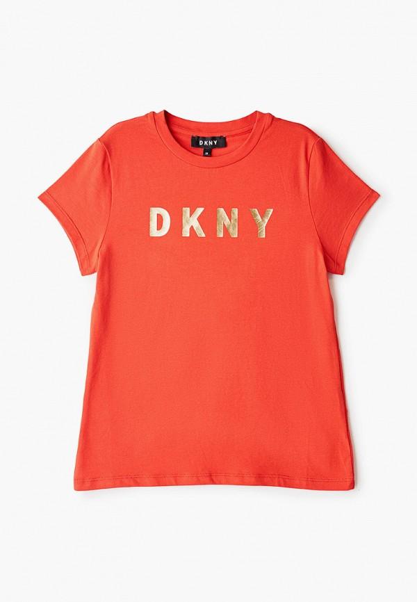 футболка с коротким рукавом dkny для девочки, красная