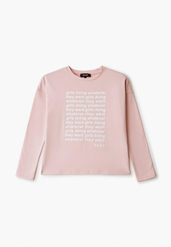 лонгслив dkny для девочки, розовый