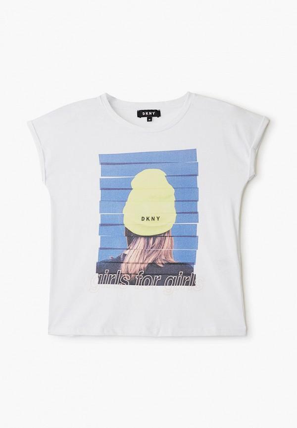 футболка с коротким рукавом dkny для девочки, белая