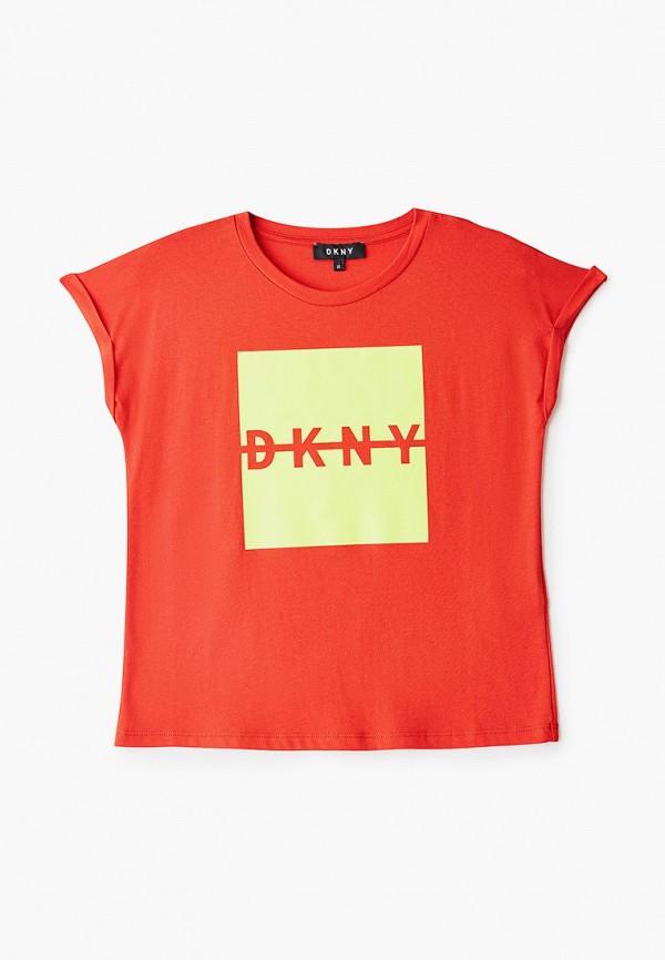 футболка с коротким рукавом dkny для девочки, оранжевая