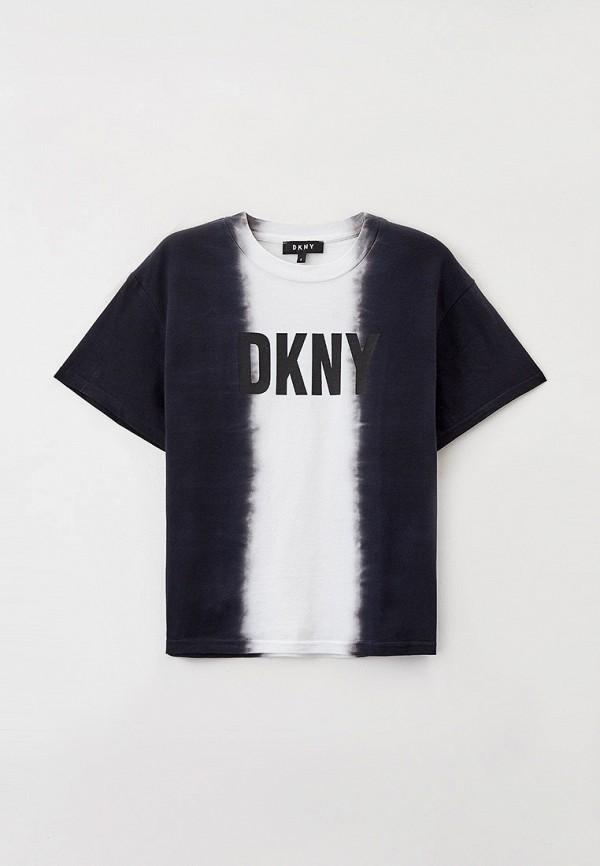 футболка с коротким рукавом dkny для девочки, черная
